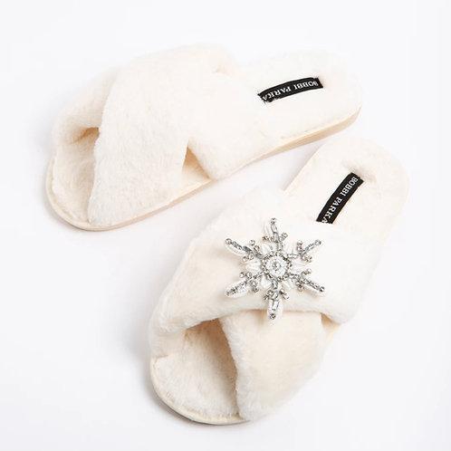 Bobbi Parka - Cream faux fur slipper - Snowflake