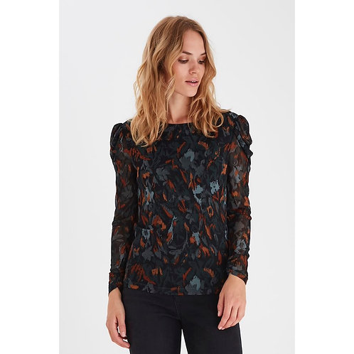 B.Young - Printed sheer sleeve top