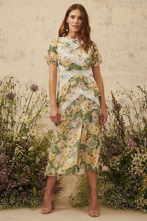 Hope & Ivy - Evie - Foral lace detail dress • Lemon