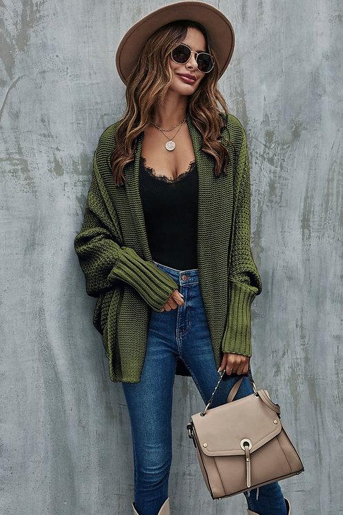 Oversized chunky knitted cardi - Khaki