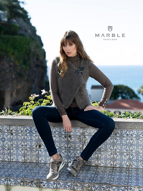 Marble 5845 fluffy knit gilet with buckle trim