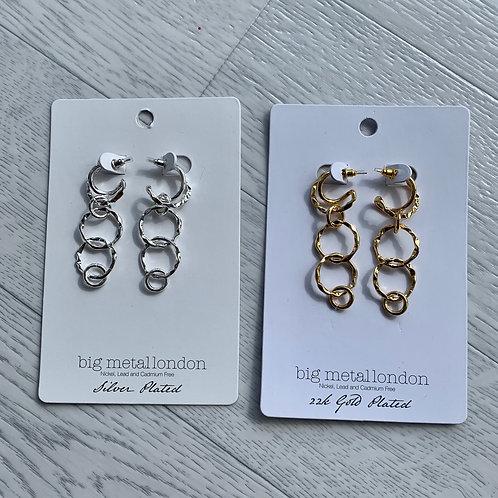 Big metal - Hoop drop earrings