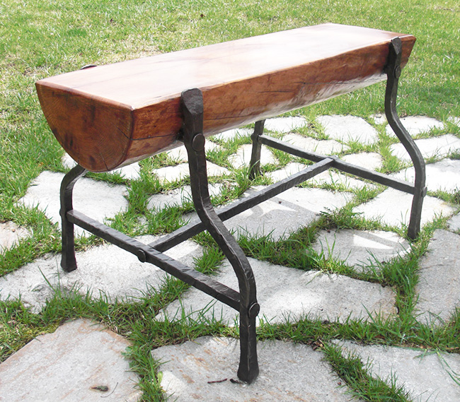 Cherry and iron garden bench