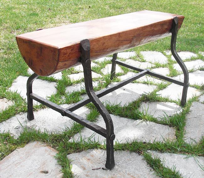 Cherry and iron garden bench
