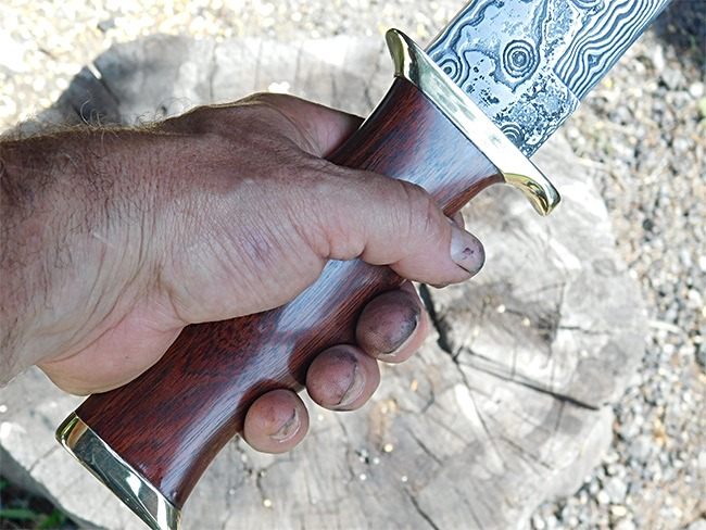 Custom made damascus bowie