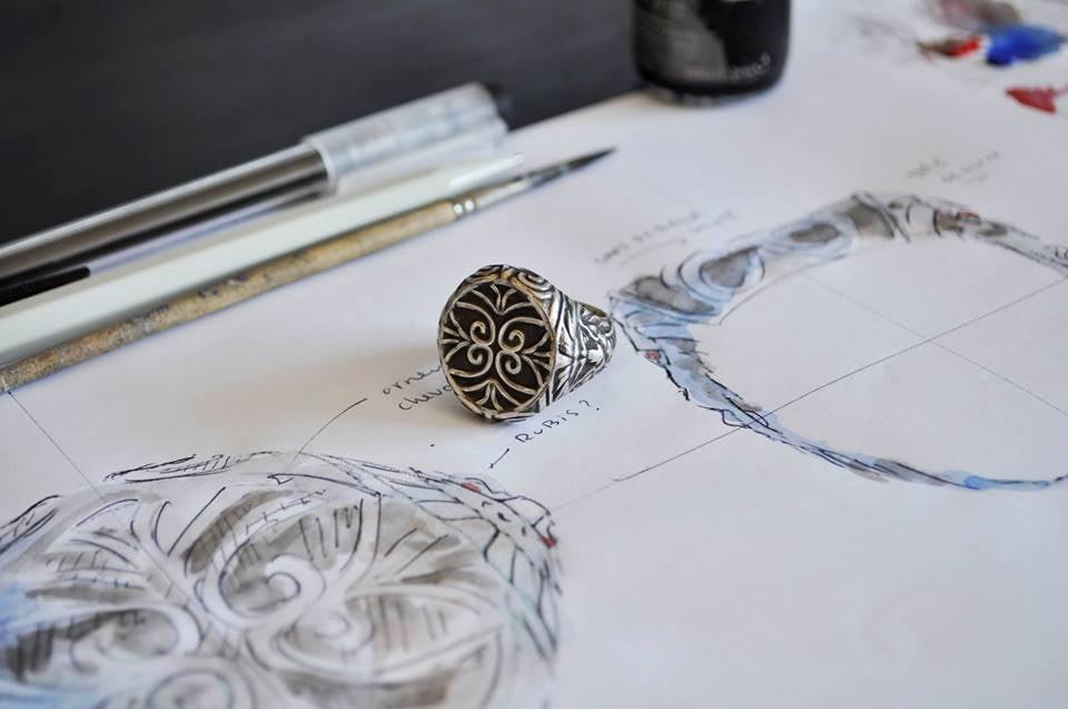 Bagues homme en argent sur mesure à Genève. Créations de bijoux sur mesure HRjewelry à Genève.
