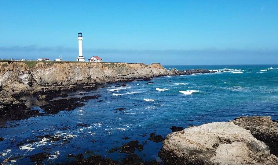 Lighthouse, pointarena, bluff, ocean, cliff, waves,