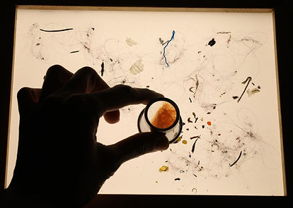a hand holds a small magnifying glass over a light box. On top of the light box, a scatter of dust particles and hair