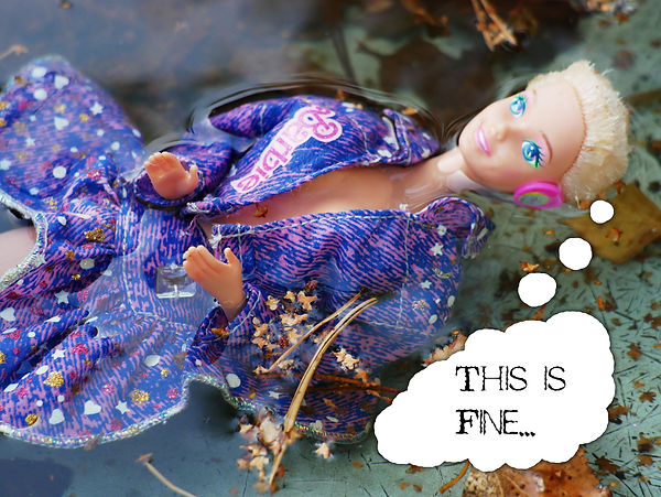 Barbie doll wearing colourful clothes floats in the water among dry tree leaves and needles. There's a white speech bubble coming from Barbie's head saying 'This is fine…'.