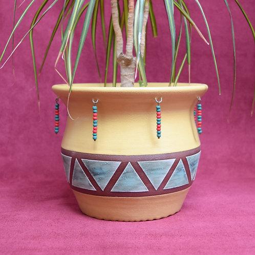 Yellow Beaded Pot
