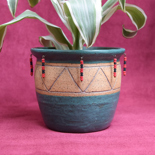 Elegua Beaded Pot