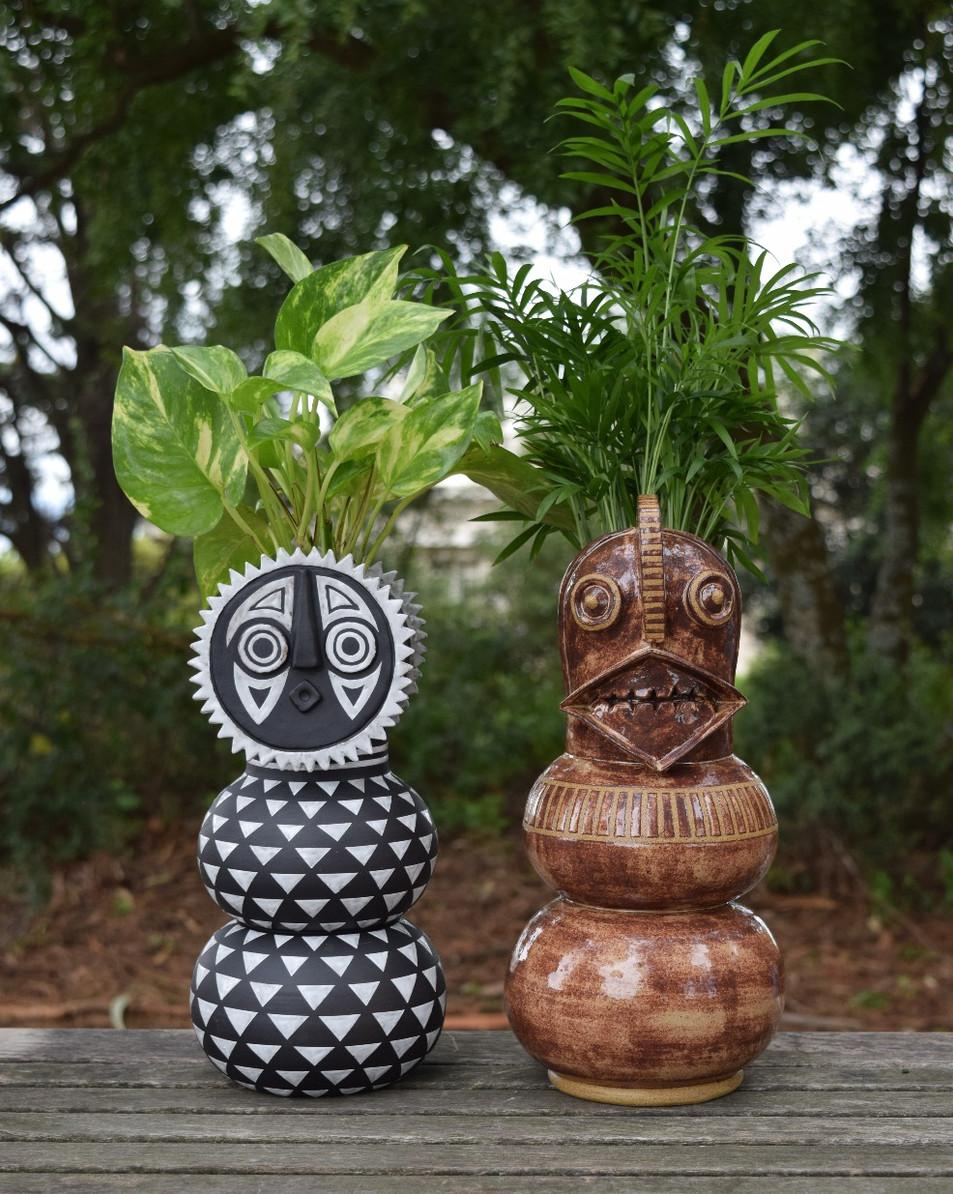 Bwa Sun Mask Planter, Winiama Mask Planter