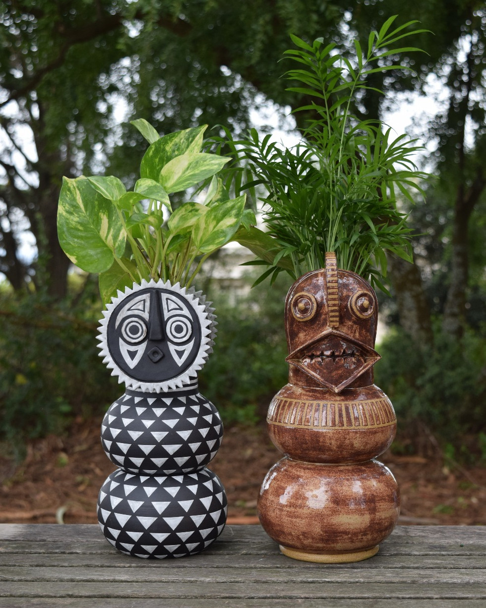 Bwa Sun Mask Planter, Winiama Mask Planter
