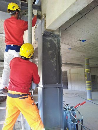 Ausmörteln Beton-Stahlkonstruktion