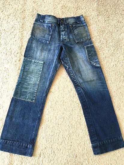 RARE!! DEAD STOCK!! NEW!! Mister Freedom REAL USED WASH 3 Denim Mix Pants w32