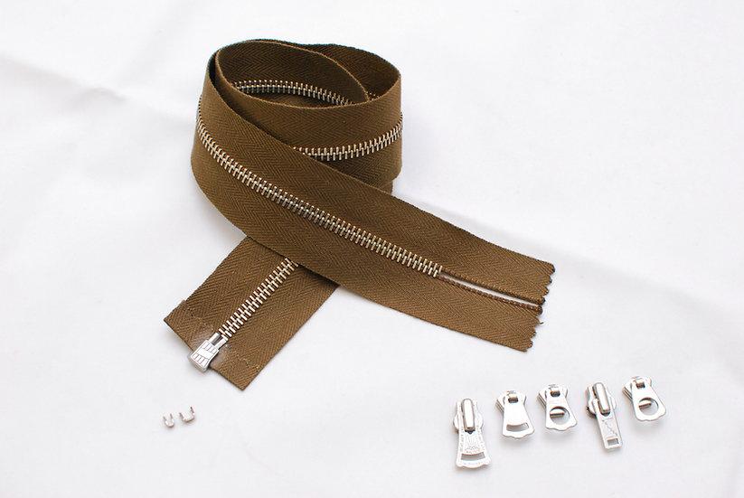 Box Type Zipper Repair kit Dark Brown Tape Nickel