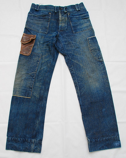 Mister Freedom 7161MD Sugar Cane 50% x Cotton 50% Pants Leather Pocket W32