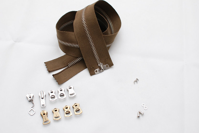 Grommet Zipper Repair kit Dark Brown Tape Nickel
