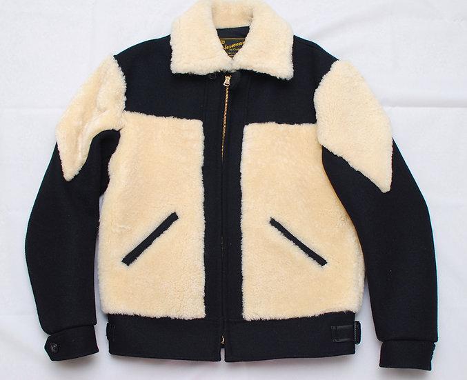 Cushman Grizzly Jacket Black Wool and white Sheep Skin M