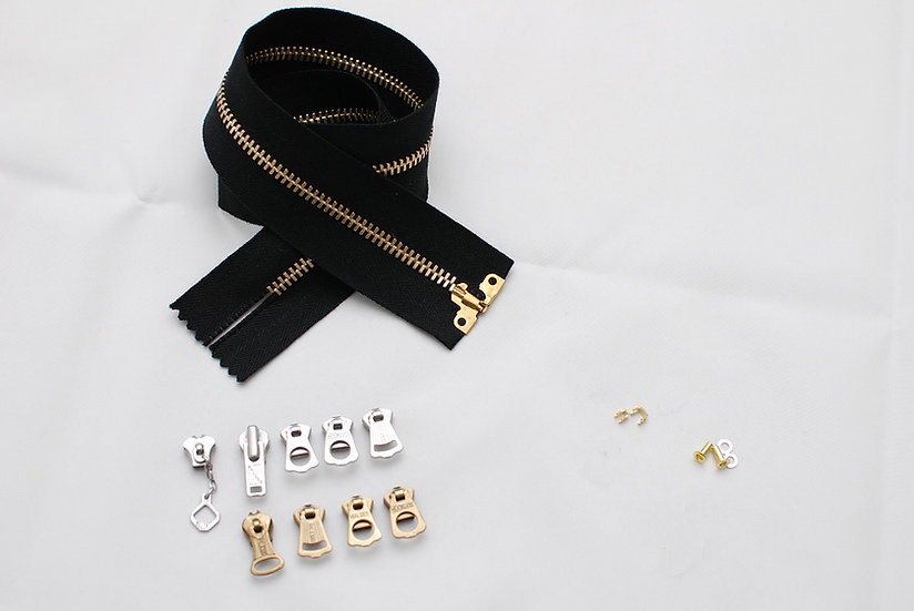 Grommet Zipper Repair Kit Black Tape Brass