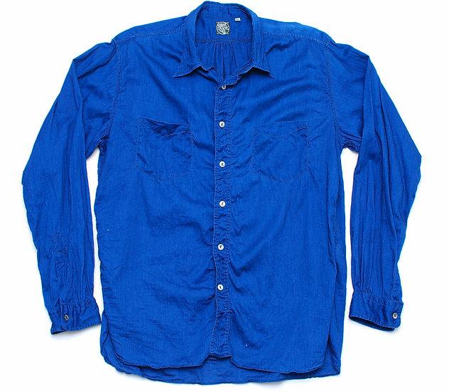 Sugar Cane Fiction Romance 3 oz Indigo Cotton Linen Shirt XL