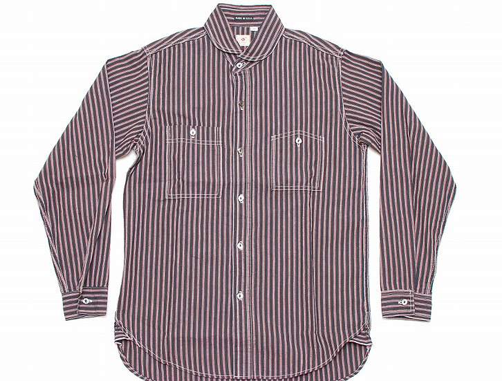 Sugar Cane Round Collar Stripe Shirt L 16 - 16 1/2