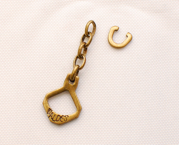 1950s-60s Vintage Repro Five Ring Chain Brass Zipper Puller