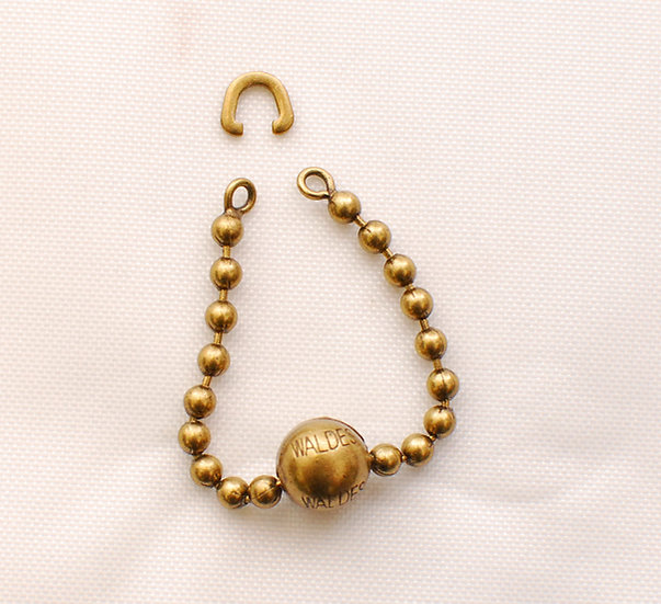 1930s Vintage Repro Ball Chain Zipper Brass Puller