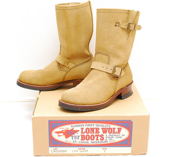 Sugar Cane Lone Wolf Engineer Boots roughout suede US 7