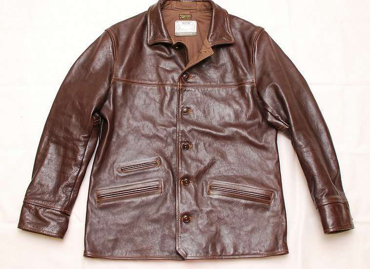 "Colimbo Triborough Trap Tools "" Stockman's ""  Horsehide Leather Car Coat 42"