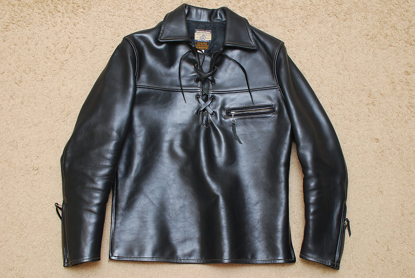 1990s VINTAGE The Real Mccoys Steeple Chase Horse Hide Pullover Leather Jacket 3