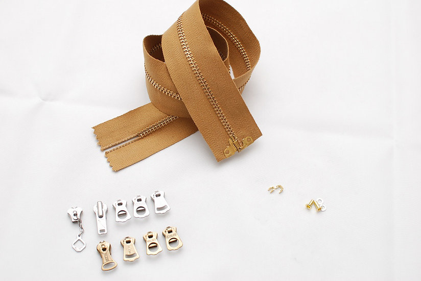 Grommet Zipper Repair kit  Golden Brown Tape Brass