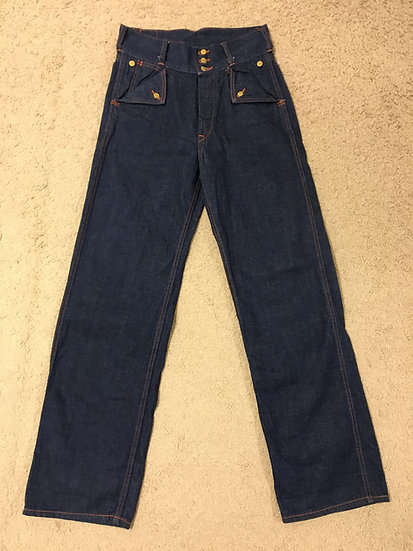 1930s REPRO Lee x Warehouse & Co, Work Denim Pants Trouser w30 flip flap