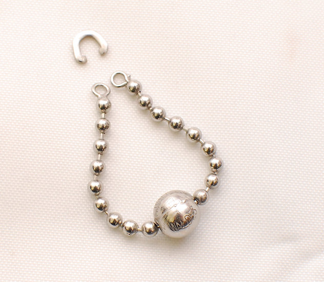 1930s Vintage Repro Ball Chain Zipper Nickel Puller