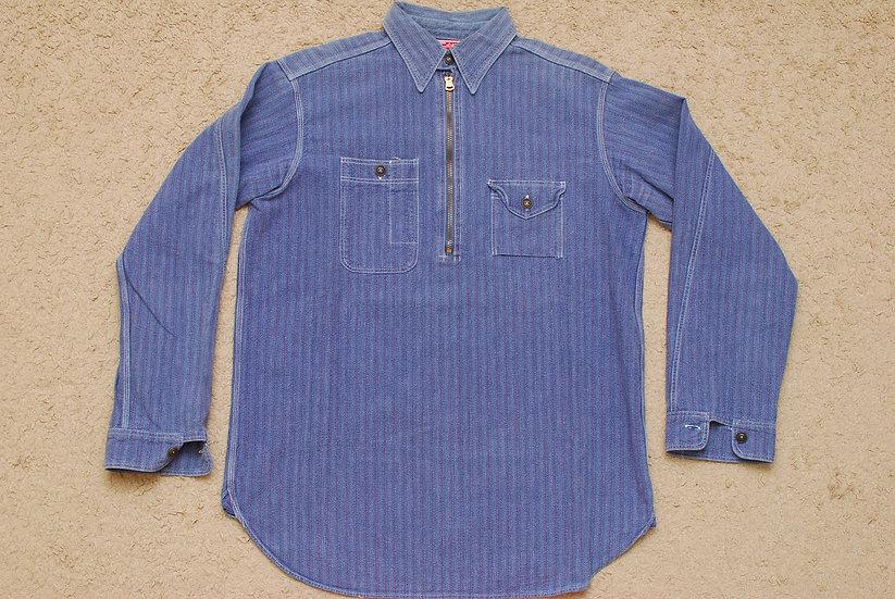 1930s VINTAGE REPRO WAREHOUSE & Co, Harf Zip Shirt Blue 38 talon zipper