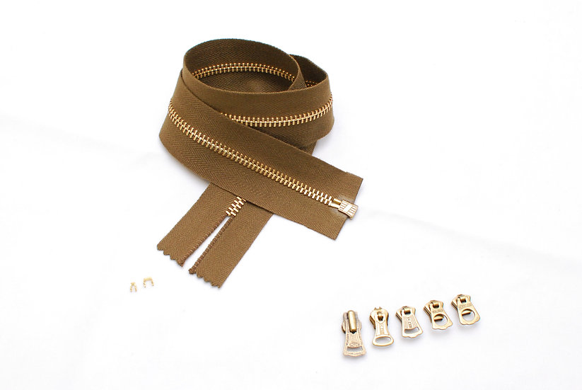 Box Type Zipper Repair kit Dark Brown Tape Brass