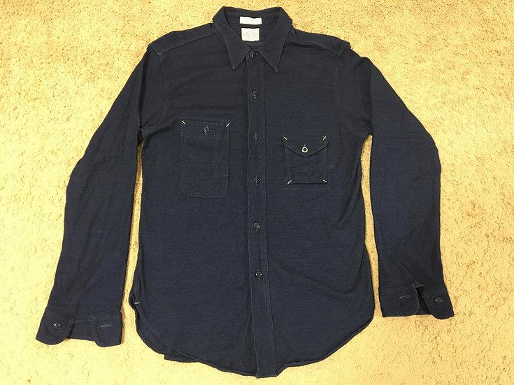 1930s Vintage Repro BIG YANK Indigo Dye Jersey Knit Shirt 15 1/2