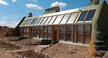 Simple Survival Earthship rental, home, 3D rendering, exterior view