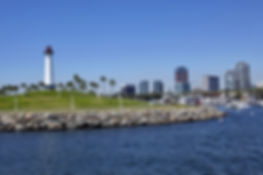 Long Beach lighthouse, Harbour, skyline