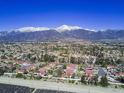 Aerial view of Mount Baldy and Rancho Cu