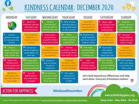 Action for Happiness offers a daily road map for being kind