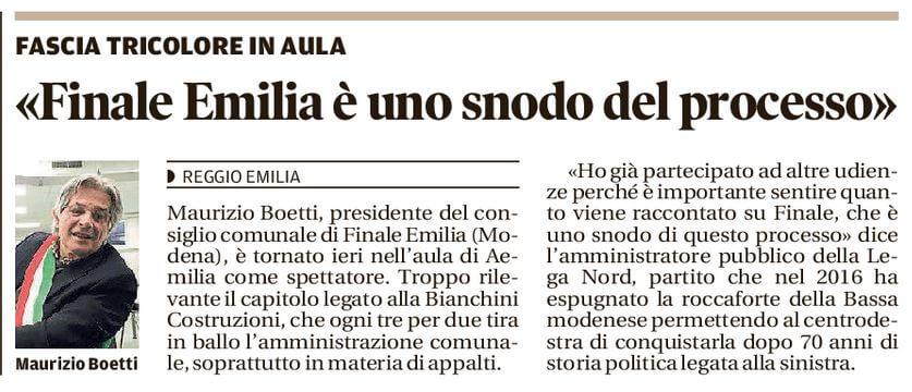 Finale Emilia: uno snodo del processo
