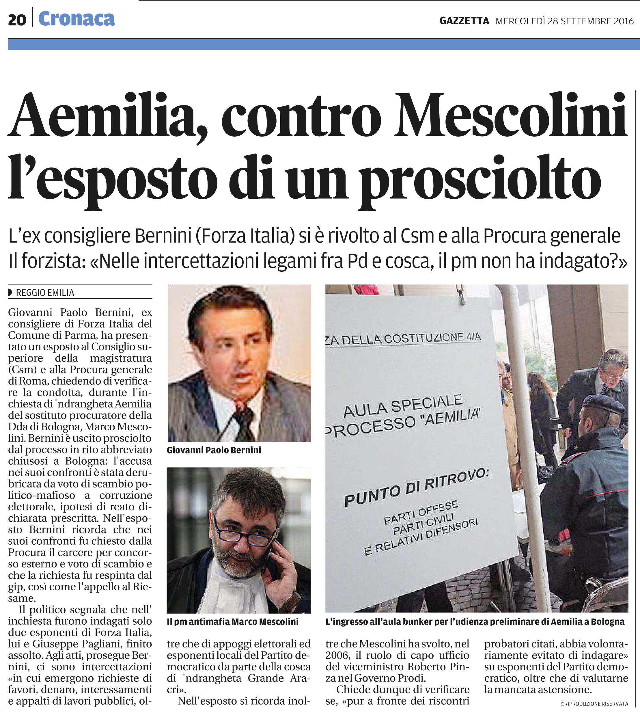Esposto contro Mescolini