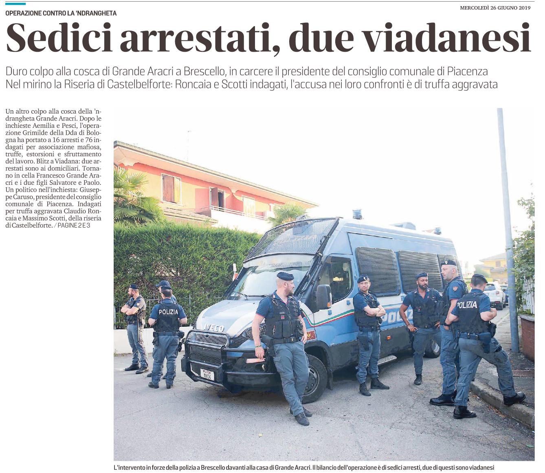Sedici arrestati, due viadanesi