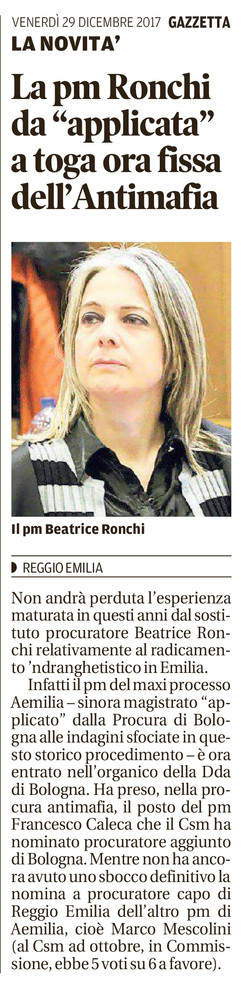 La PM Ronchi toga fissa