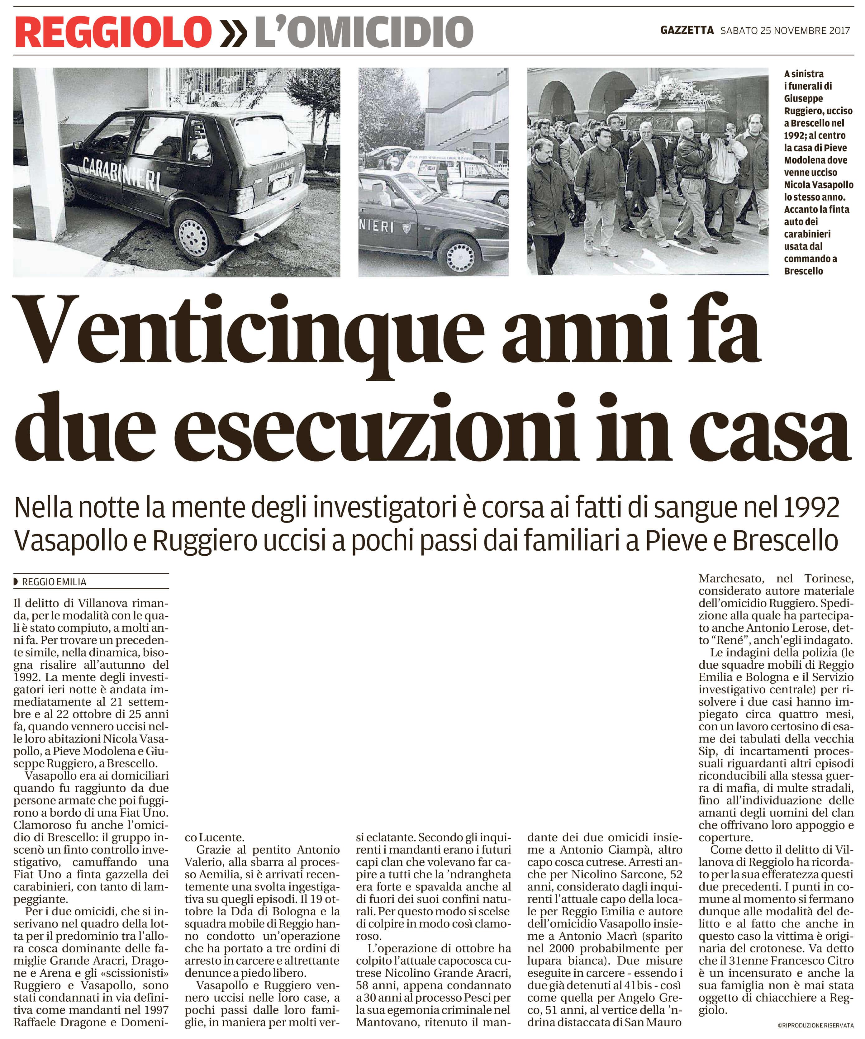 25 anni fa due esecuzioni in casa