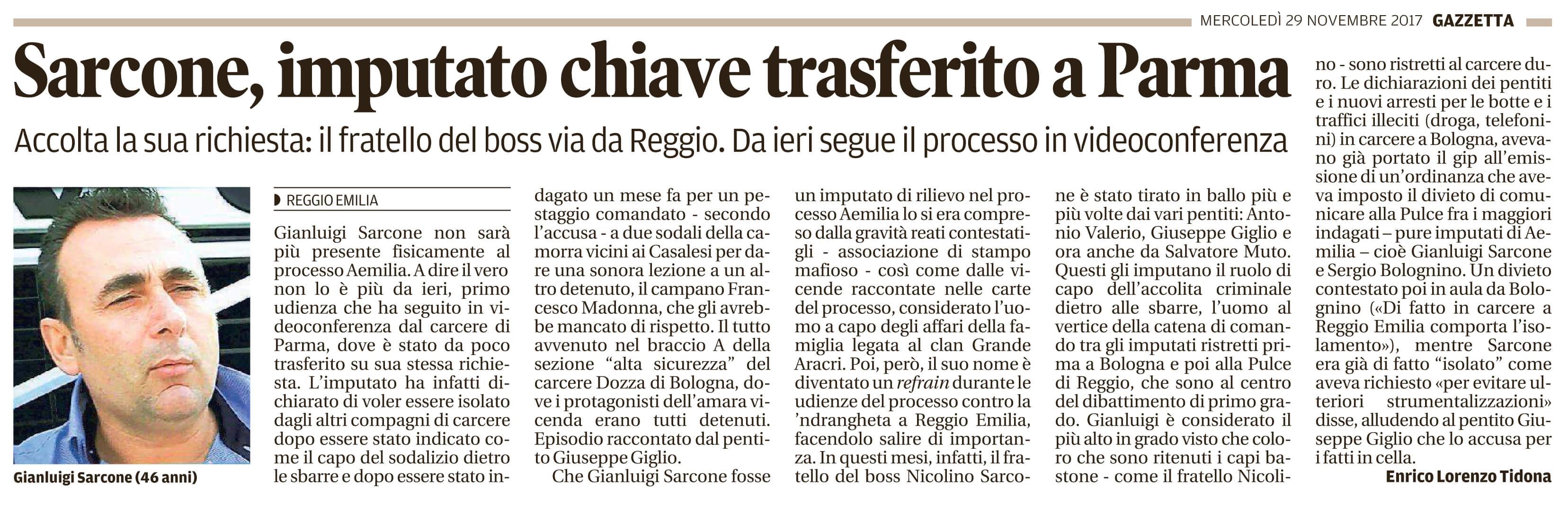 Sarcone trasferito a Parma
