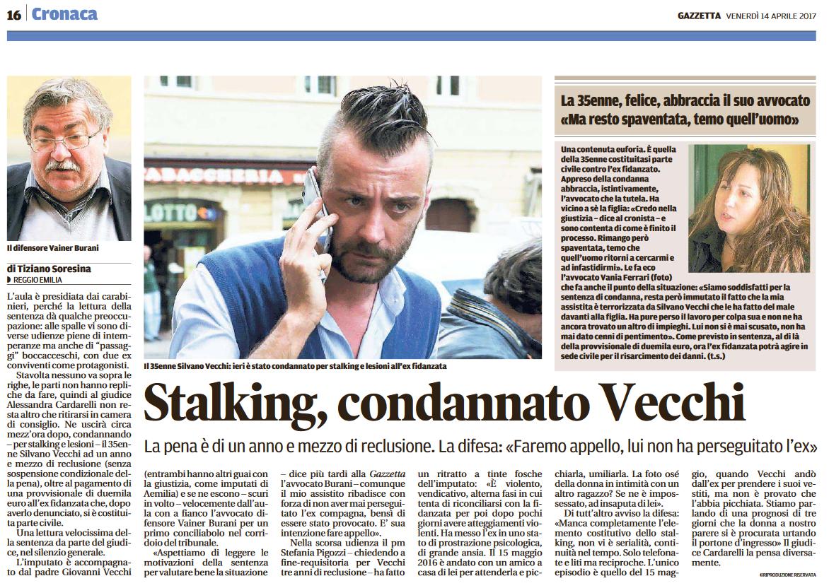 Stalking: condannto Vecchi