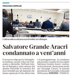 Salvatore condannato a vent'anni