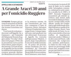 30 anni per l'omicidio Ruggiero